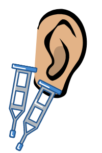 cartoon ear with a crutch