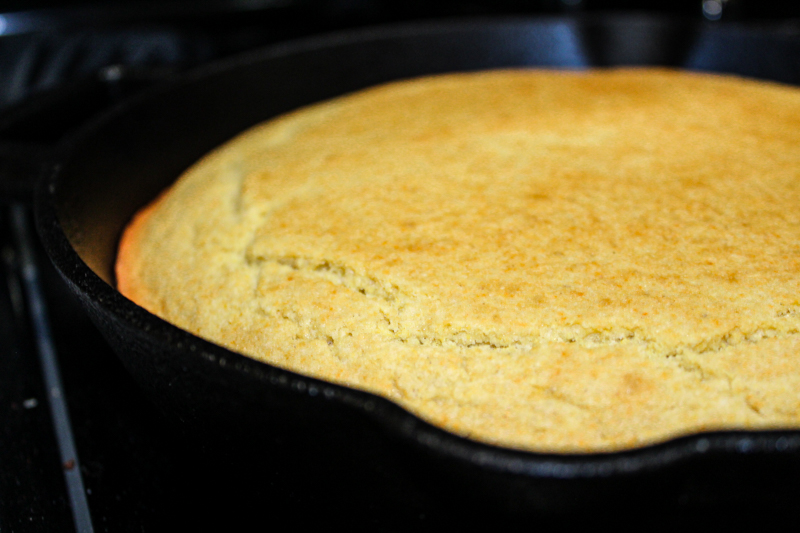 Affordable gluten free and dairy free cornbread in a cast iron skillet