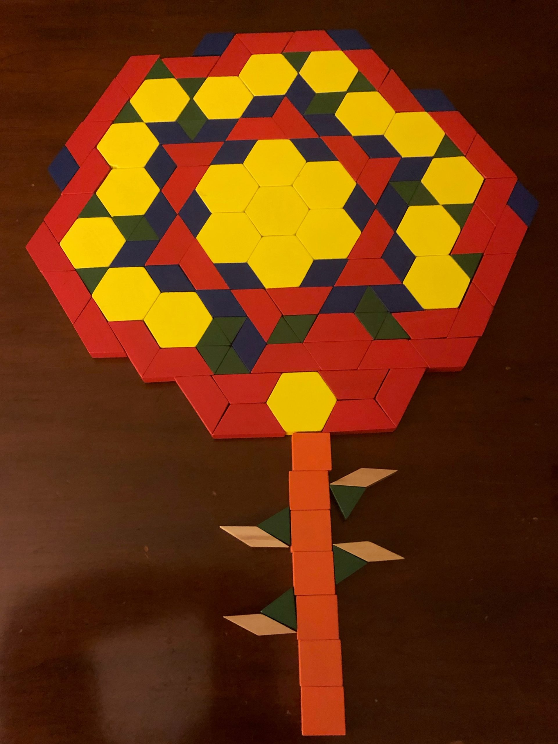 Tangram puzzle of a flower used to improve visual perceptual skills