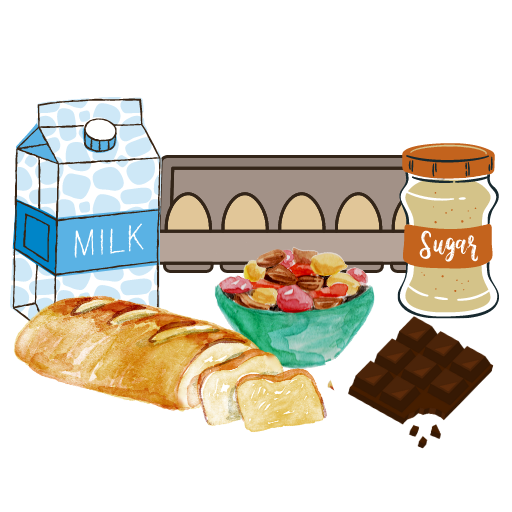 milk carton, eggs, sugar, nuts, a loaf of bread, and a chocolate bar