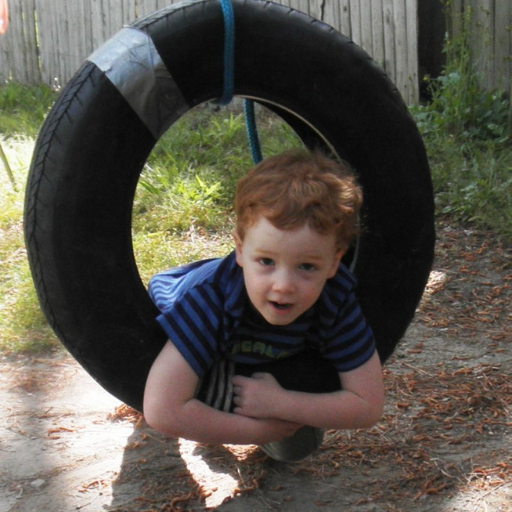 tire swing calms little boy with attention deficit hyperactivity