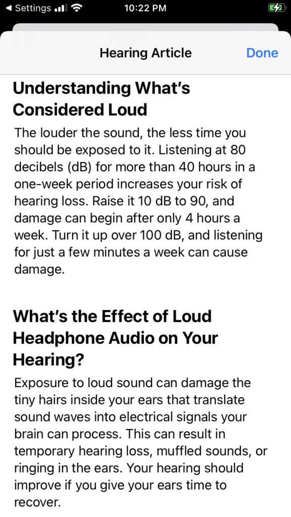iPhone hearing article about what is considered loud