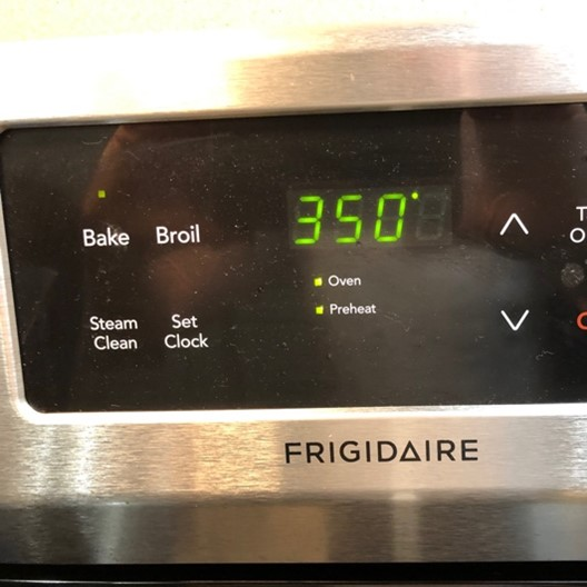 oven preheated to 350 degrees