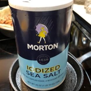 container of morton iodized sea salt