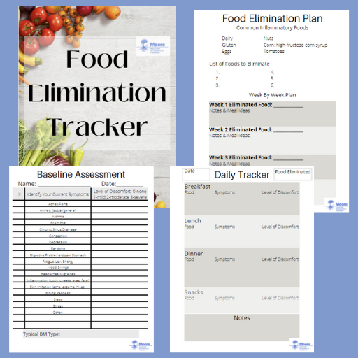 Title page and three content pages of the food elimination tracker with a light blue background