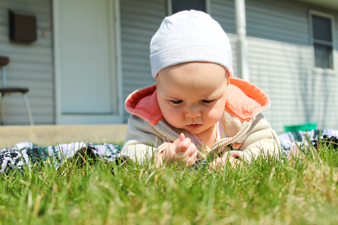 baby girl wearing a hoodie and hat laying on her belly outside on a blanket. She is in front of a gray house. She is at the edge of the blanket holding a blade of grass with one hand. She is intently inspecting the grass.